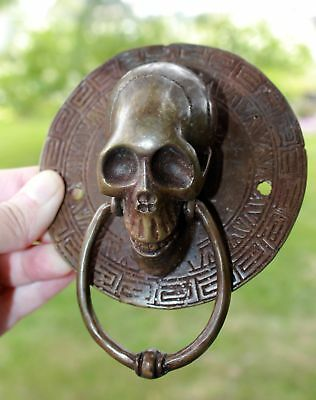 Vintage Gothic Skull Door Knocker lost wax Cast Brown Bronze Balinese Art