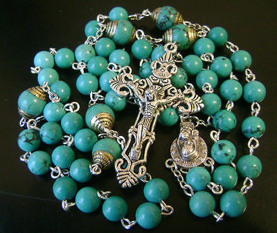 Turquoise BEADS & VINTAGE CRUCIFIX CATHOLIC NECKLACE SEVEN SORROWS ROSARY CROSS