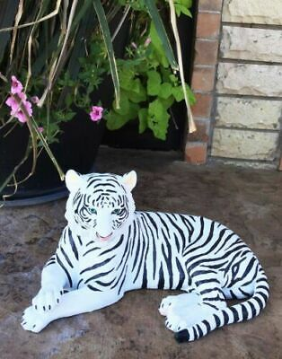 """15.5"""" Length Large Ghost White Tiger Figurine Wild Life Indoor Outdoor Decor"""