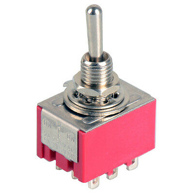 New 9-Pin Mini Toggle Switch 3PDT 2 Position ON-ON 2A250V/5A125VAC MTS-302 X5RG