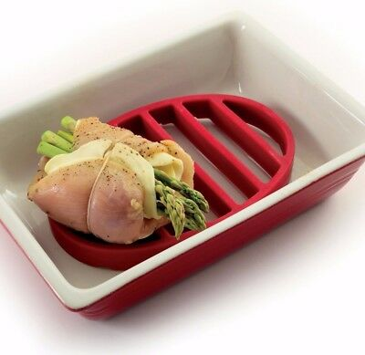 Norpro Red Oval Silicone Roasting Roast Rack / Trivet