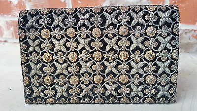 "Vintage True Zari 8x5"" Flowers Clutch Sterling Silver Gold Vermeil Thread India"