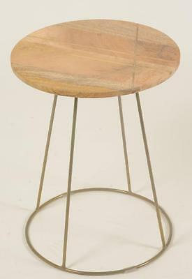 Side Table - Retro / Vintage Style 1950s / 1960s Inspired - Solid Wood & Metal