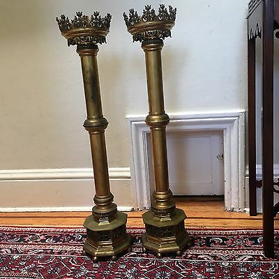 Superb 19th c Large French Church Heavy Brass Candleholders Fleur de Lys Design