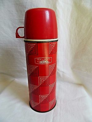 Vintage Pint Size Icy Hot Thermos Red Retro Design