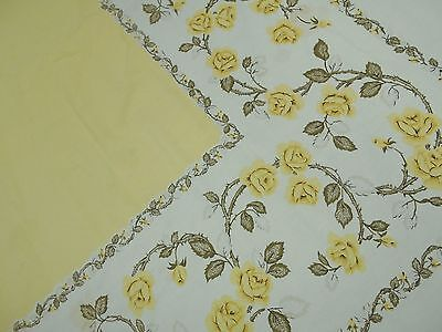 Vintage Antique 1950 YELLOW COTTAGE ROSES CHIC Cotton Tablecloth 60X73