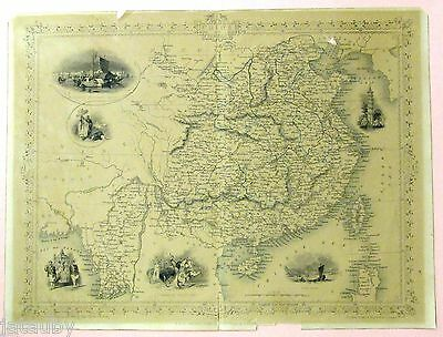 Old Map Chinese Soldiers Sea Bay Bengal China Mongolia Tallis Rapkin Wray Allen
