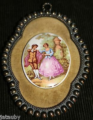 Antique Victorian Porcelain Framed ART MAN COURTING WOMAN LADY SCENE Wall Plaque
