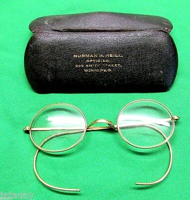 Vintage WIRE RIM GLASSES GOLD COLOR w CASE Norman Neill Optician Winnipeg Canada