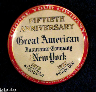 AMERICAN INSURANCE NEW YORK ADVERTISING POCKET MIRROR Vintage Chicago Lerch Sage