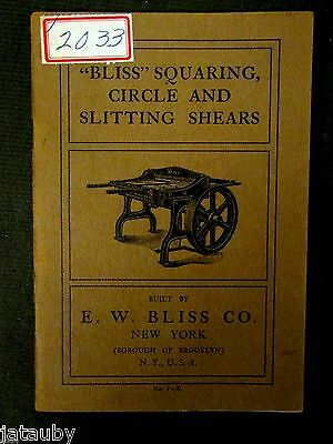 1905 antique E.W. BLISS CO NEW YORK SHEAR TOOL CATALOG vintage Brooklyn ad photo