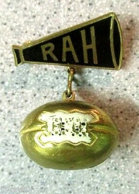 Antique FOOTBALL ENAMEL RAH PIN PINBACK with FOOTBALL CHARM Vintage collectible