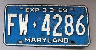 Vintage 1969 MARYLAND LICENSE PLATE FW 4286 car truck sign