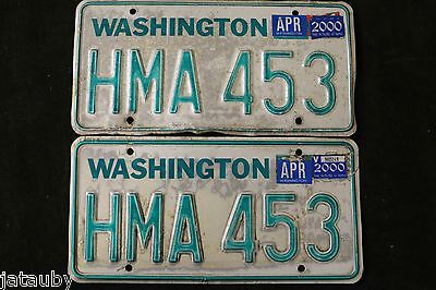 VINTAGE PAIR WASHINGTON LICENSE PLATE HMA 453 original car truck auto sign