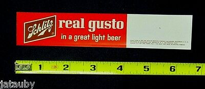 Vintage 1961 Sign SCHLITZ REAL GUSTO IN A GREAT LIGHT BEER plastic advertising