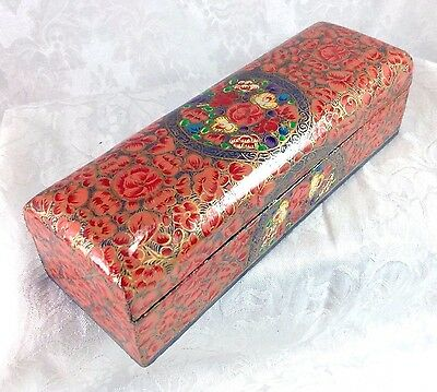 Kashmir India Pen Pencil Necklace Jewelry Box Red Flowers Hand Paint Paper Mache