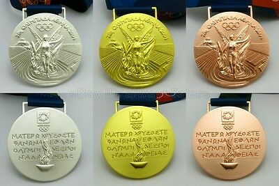Complete Set of 3pcs Athens 2004 Olympic Medals Gold/Silver/Bronze with Ribbons