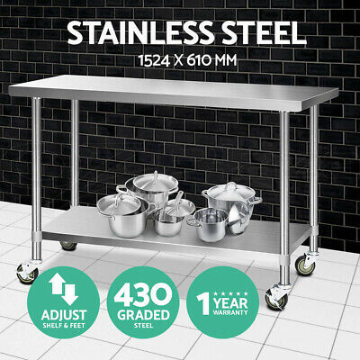 1524x610mm Commercial 430 Stainless Steel Work Bench Food Prep Table + Castors