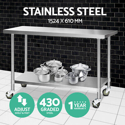 Cefito 1524x610mm Commercial 430 Stainless Steel Bench Kitchen Food Prep Table
