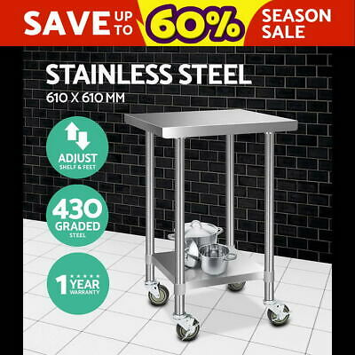 610x610mm  Commercial 430 Stainless Steel Work Bench Food Prep Table + Castors