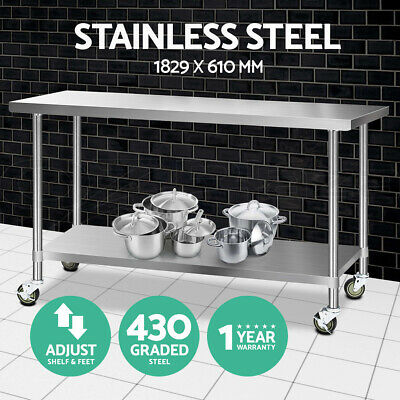 1829x610mm Commercial 430 Stainless Steel Work Bench Food Prep Table + Castors
