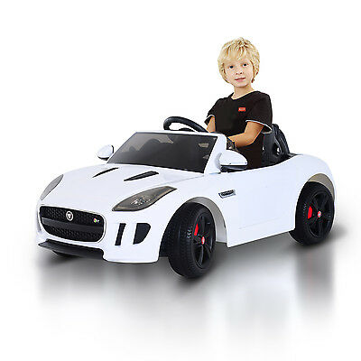 Jaguar Electric Ride On Car Toy Kids Gift 12V Battery W/RC Lights, White