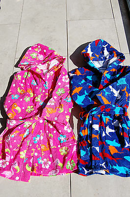 Kids Trendy 100% Cotton Towelling Cover Ups Beach/Pool or Bathtime six designs