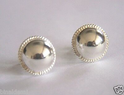 925 Sterling Silver Large 12mm Rope Edge Half Ball Dome Stud Earrings X'Mas GIFT