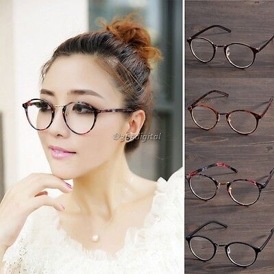 Men Women Clear Lens Eyewear Round Plastic Frame Optical Glasses Eyewear 35DI