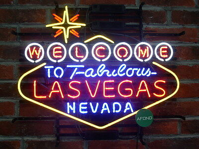 "New Welcome to Las Vegas Neon Sign Bar Game Room Wall Decor Light Larger 24""x20"""