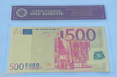 Colourised 500 EURO 24K Gold Plated Banknote with *COA* (n64c)
