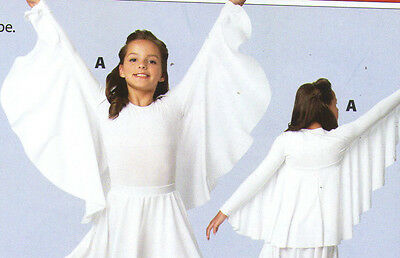 NWT White Praisewear Liturgical Church Dance Angel wings shrug matte spandex