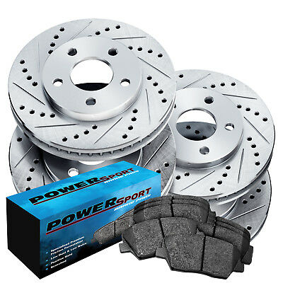 Fit 2005 Cadillac DeVille Front Rear PSport Drill Slot Brake Rotors+Ceramic Pads