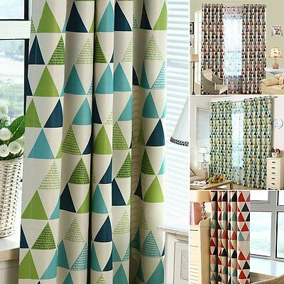 New Blackout Curtain Multi-Color Triangle Printing Kids Bedroom Drape Eyelet 1PC