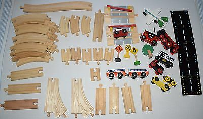 wooden train & track 50 pc generic and Brio trains
