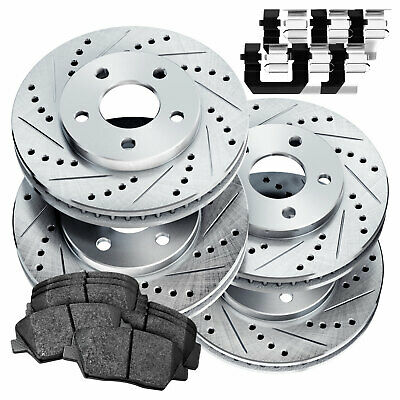 Fit Toyota Highlander Front Rear  Drill Slot Brake Rotors+Ceramic Brake Pads