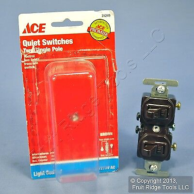 Brown Single Pole DOUBLE Toggle Wall Light Switch Control Duplex 15A 31249