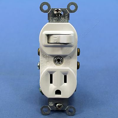 Leviton Combination White Wall Toggle Light Switch Outlet Receptacle 15A 5225-W