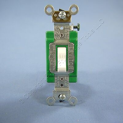 Leviton White INDUSTRIAL DOUBLE POLE Toggle Light Quiet Switch 30A Bulk 3032-2W