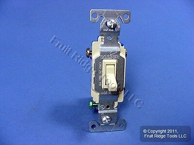 10 Cooper Wiring Ivory Toggle Wall Light Switches 3-WAY Quiet 15A 120V 1303-7V