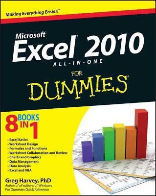 Excel 2010 All-In-One for Dummies by Greg Harvey (English) Paperback Book Free S