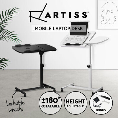 Mobile Laptop Desk Stand Notebook Computer PC iPad Bedside Table USB Cooler Fan