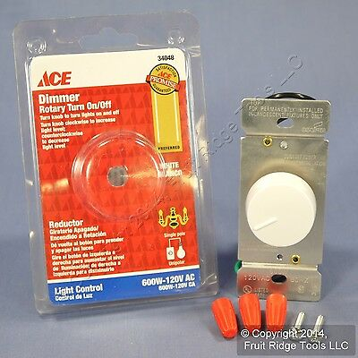Ace White Rotary Dimmer Switch Control Turn Dial ON/OFF Single Pole 600W 34048