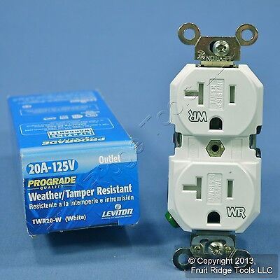 Leviton White Tamper/Weather Resistant Receptacle Outlet 20A 125V TWR20-W Boxed