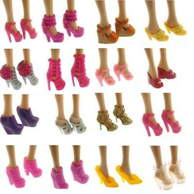 Cute Fashion Party Daily Wear Dress Outfits Shoes For Barbie Doll 10 Pairs Set
