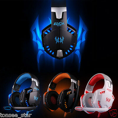 HOT EACH Stereo Bass LED Gaming Headphone Headset With Mic for PC Game Kopfhörer