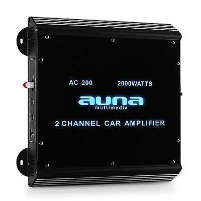 Ampli Voiture Design 2 Canaux Auna Audio Car Hifi Bridgeable 2000W  Effets Led