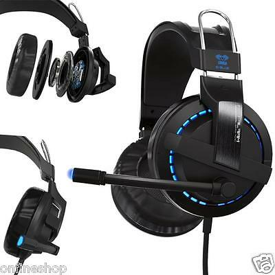 Blue Light Surround Stereo Pro Gaming Headphone Headsets With Mic For PC