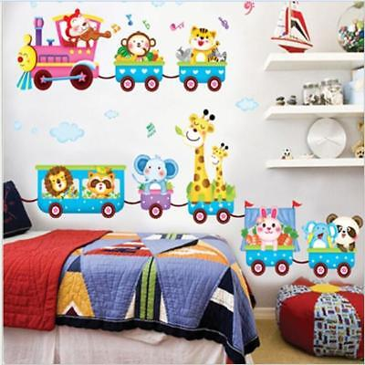 3D Jungle Animal Train-Printed Wall Art Vinyl Stickers Decal Kid Room Decor - CB