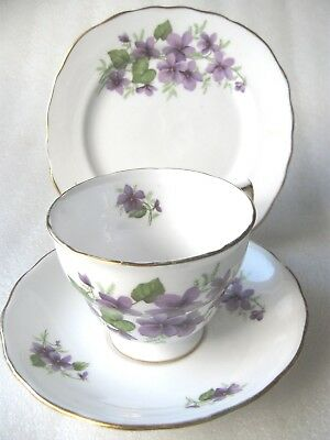 """TRIO CUP/SAUCER SIDE PLATE  VIOLETS RIDGWAY TRIO """" ROYAL VALE """" Perfect"""